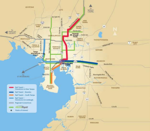 A map showing the proposed BRT and light rail network.