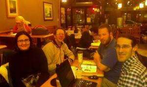 Pittsburgh Transit Meetup at Caribou Coffee. From left, Ana Bayne, Stuart Strickland, Zachary Ziegler, and Michael Sypolt