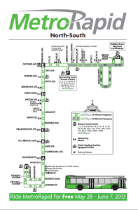 Map for the MetroRapid North-South Line