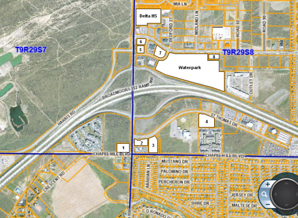 Possible sites in West Pasco for Broadmoor Transit Center