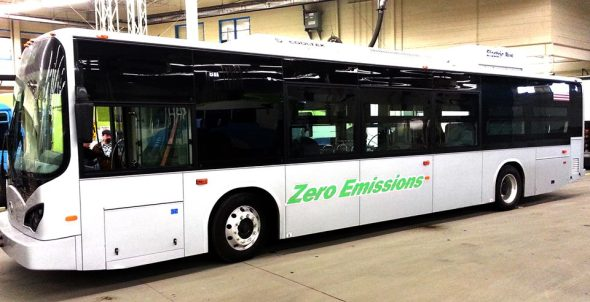 The BYD Motors E-Bus that STA will be running on a 30-day trial. Photo Credit: Spokane Transit Authority (via Facebook)