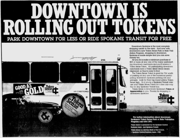 Advertisement for Token Sense Photo Credit: Spokane Chronicle (12/8/1988)